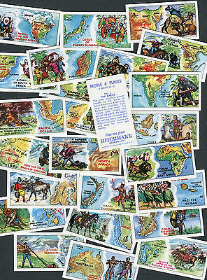 """HITCHMANS DAIRIES 1971 SET OF 25 """"PEOPLE & PLACES"""" TEA CARDS"""