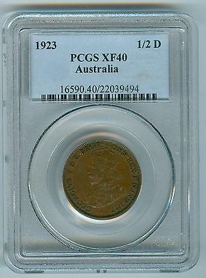 AUSTRALIA 1923 HALF PENNY--PCGS XF40--KEY DATE