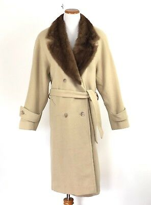 Marvin Richards Camel Hair Long Pea coat Mink Collar Beige Womens Size 12 ()