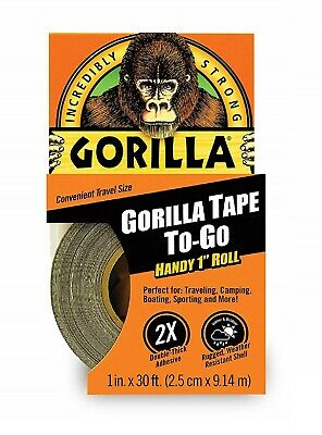 Gorilla Duct Tape To-go 1 X 30 Ft Black Double-thick Adhesive