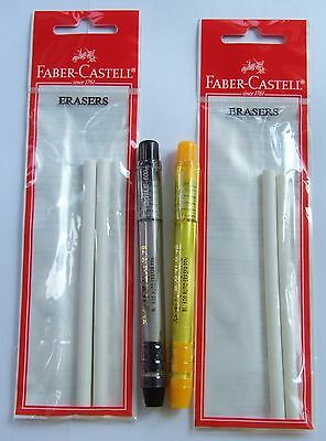 New 2x Auto Eraser Holders Black Yellowwith 4x Faber-castell Eraser Refills