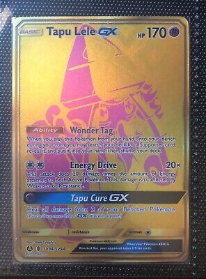 Tapu Lele GX Gold Secret Rare SV94/94 Hidden Fates Pokémon Card M/NM
