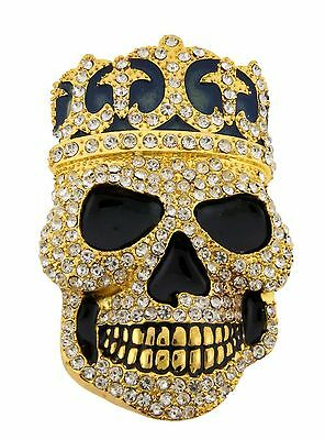 Crowned Skull Belt Buckle Gothic tribal Tattoo Celtic Bling Iced Out Rhinestone ()