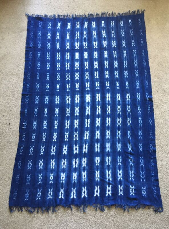 African Shibori, Faded Indigo Mudcloth Textile