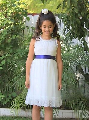 Floral Lace Overlay Cotton Ivory Flower Girl Dress Pageant Wedding Communion - Cotton First Communion Dress
