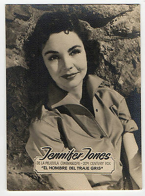 1950s Mens Suits & Sport Coats | 50s Suits & Blazers 1950s Spanish Rollfilm Film Star Card Man In Grey Suit Actress Jennifer Jones $8.36 AT vintagedancer.com