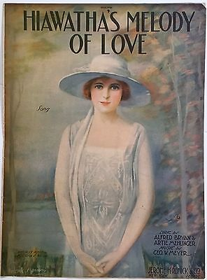 """1920 """"HIAWATHA'S MELODY OF LOVE"""" ART COVER SHEET MUSIC - FREDERICK MANNING"""