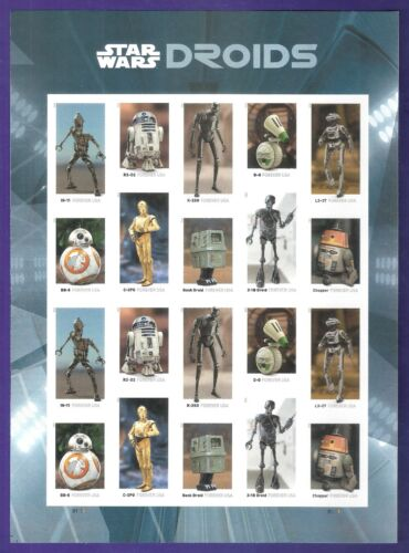 Star Wars Droids Imperf Pane of 20,  No Die Cuts, MNH, VF-XF Post Office Fresh