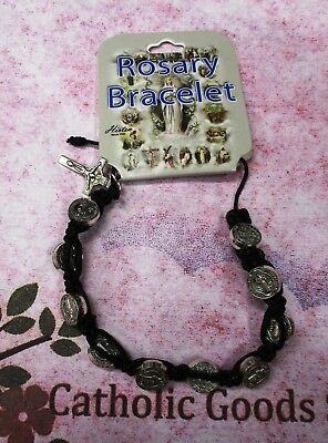 Adjustable St Benedict Bracelet with Silver Ox Medals - 1 Decade Rosary bracelet