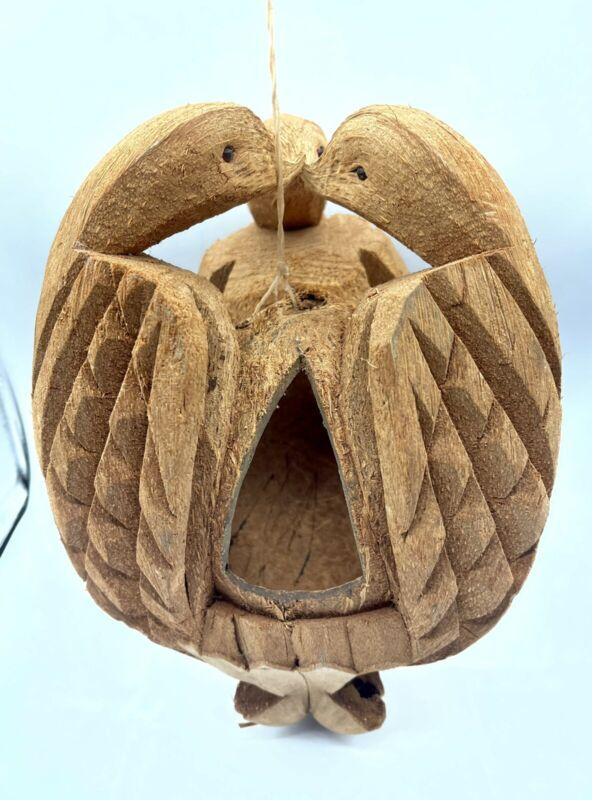 "Hand Carved Coconut Husk Bird House Feeder Three Kissing Birds Folk Art 10"""