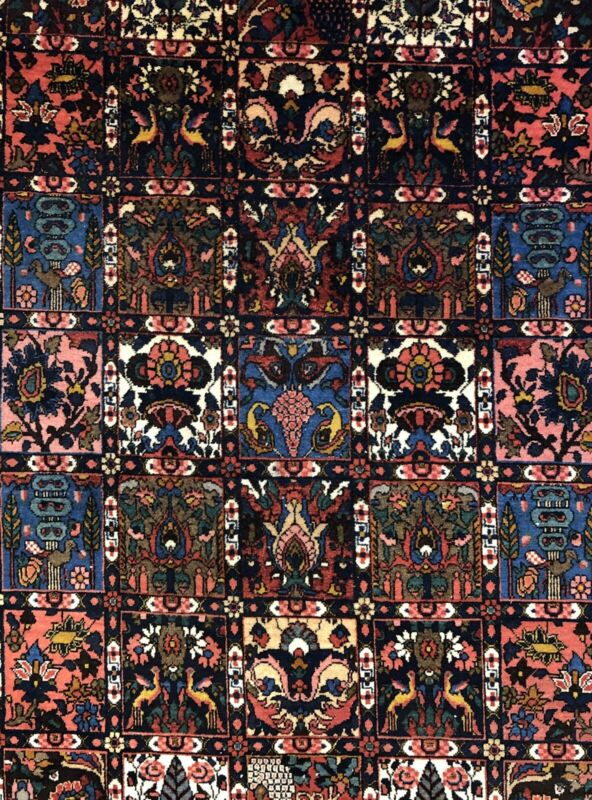 Blossoming Bakhtiari - 1940s Antique Persian Rug - Panel Garden - 6.8 X 10.3 Ft.