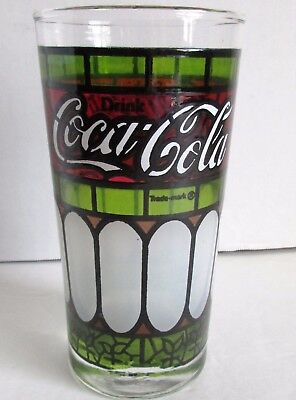 Vtg Drink Coca Cola Glass Frosted & Stained Glass Tiffany Style Green Red 5.5""