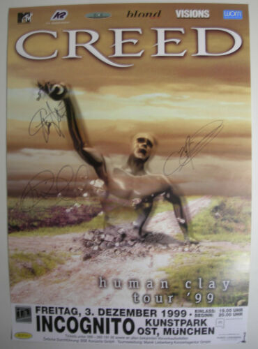 CREED CONCERT TOUR POSTER 1999 HUMAN CLAY AUTOGRAPHED BY BRIAN SCOTT MARK