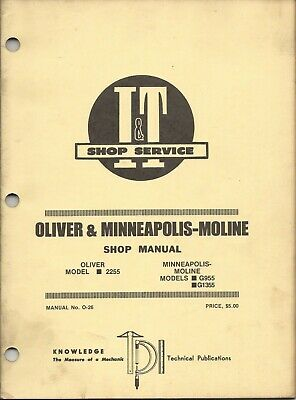 It Oliver 2255 Minneapolis Moline G955 G1355 Shop Manual