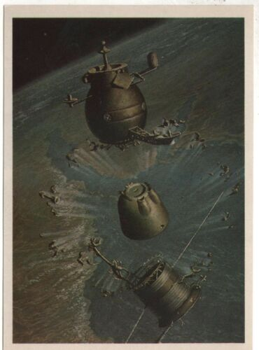 """1982 Cosmos Spaceship """"SOYUZ"""" Division into compartments Old Russian postcard"""