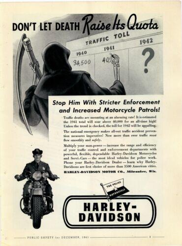 1941 Harley Davidson Police Motorcycles Ad: Don