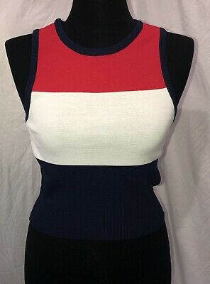 Angels Womens White Tank Top - Womens JOA Los Angeles Sleeveless Top Size S Red White Blue NWT Stretch Tank Top