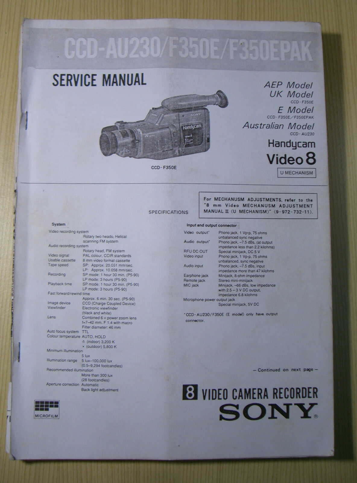 Service Manual Camcorder Sony CDD - F350