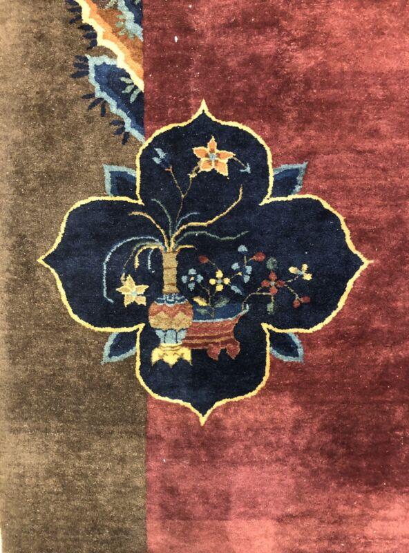 Antique Art Deco - 1920s Art Nouveau Rug - Chinese Oriental Carpet - 9 X 11.7 Ft