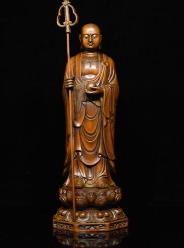 Chinese Buddhism Boxwood wood Carve stand Ksitigarbha Boddhisattva Buddha Statue