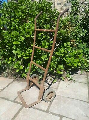 Vintage Metal Sack Barrow Cart Trolley Garden Rusted Antique Old Steel Cast Iron
