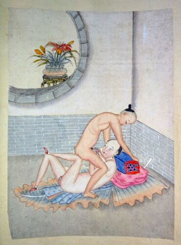 19C Chinese Erotic Pillow Color Paintings for Newly Married Couple (SoM)#8