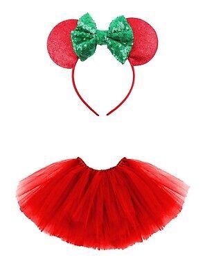 Mini Maus Mäuschen-Set Kinder Kostüm Tütü Haarreif  Glitzer Ohren 2-tlg Rot (Maus Kostüm Ohren)