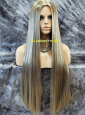 Long Straight With Hair Part Sandy Blonde Full Synthetic Wig Hair Piece #22 NWT