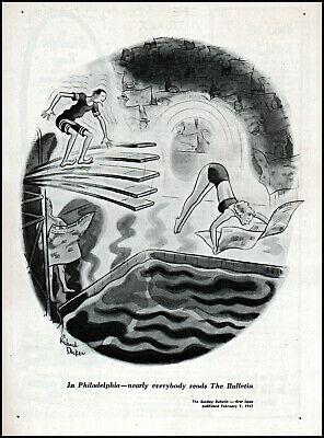 1947 The Sunday Bulletin Philadlphia newspaper promo vintage art print ad ads61
