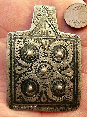61mm Pendant Silver Niellé Antique Morocco Collier Berber Antique Silver Pendant