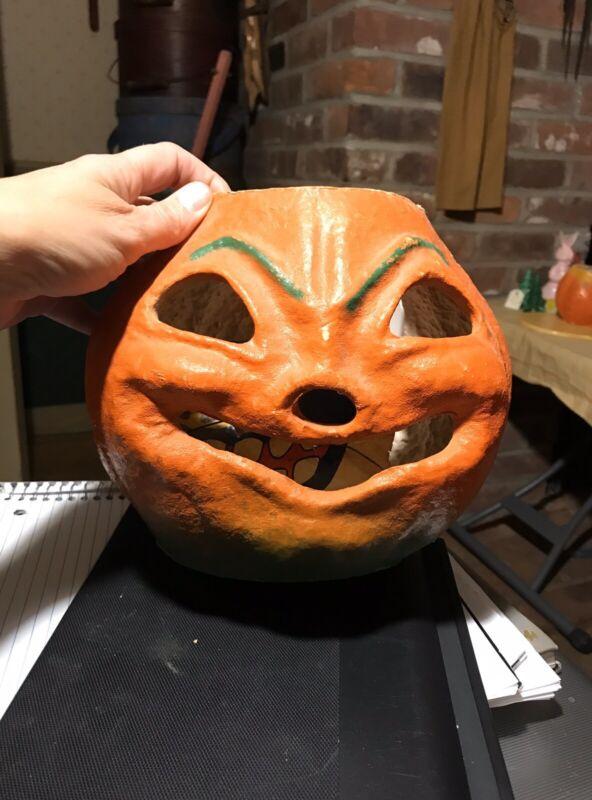Vintage Halloween Authentic Paper Mache Jack O Lantern Pumpkin Nostril w/ Insert