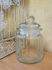 Small-Ribbed-Glass-Storage-Jar-Lid-Sweet-Candy-Food-Pot-Vintage-Wedding-Favour