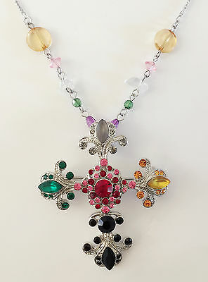 New Multi-Color Crystal Cross Charm Chain Pendant Brooch Beaded Necklace NE1231