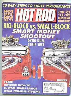 HOT ROD Magazine BIG BLOCK vs SMALL BLOCK '41 Willys '69 CAMARO March 1992 ()