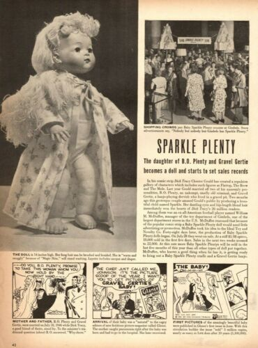 1946 Toy Article DOLL of SPARKLE PLENTY Sets Records Dick Tracy Cartoon 102020