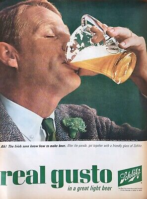 60s Vintage Schlitz advertising print Alcohol Beer Archival Poster Print Ad