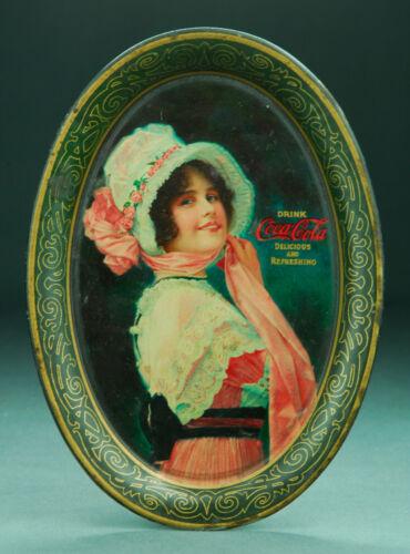 Original 1914 Coca Cola Betty Tip Tray Passasic Metal Ware Co. Litho