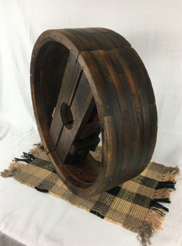 "Large Antique Primitive 20"" Wood Belt Pulley Wheel- Farm Industrial"