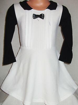 GIRLS WHITE & BLACK CONTRAST DIAMONTE BOW SKATER PARTY DRESS age 3-4 (Girls White Party Kleider)