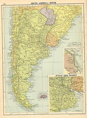 1929 MAP ~ SOUTHERN SOUTH AMERICA ~ ARGENTINA BUENOS AIRES DISTRICT ENVIRONS