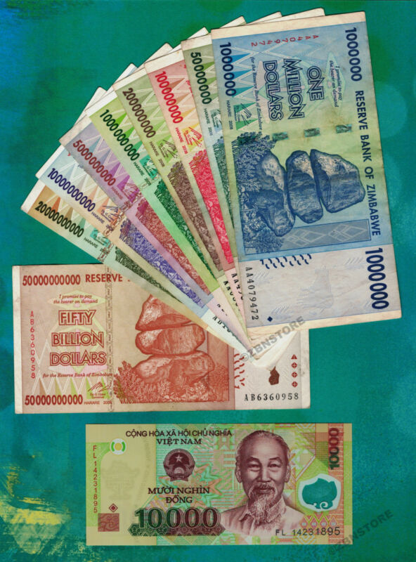 1 Million to 50 Billion Zimbabwe Dollars 2008 Set + 10,000 Vietnam Dong Banknote