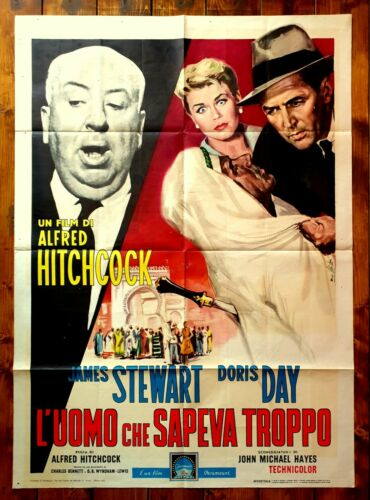 POSTER ITALIAN MOVIE MEMORABILIA THE MAN WHO KNEW TOO MUCH HITCHCOCK STEWART DAY