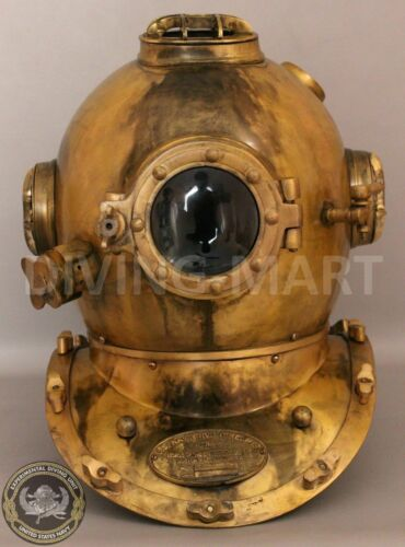 Antique Sea Ship Vintage Morse Divers Diving Helmet Maritime Scuba Deep Navy