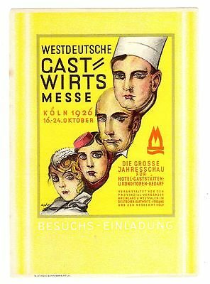 Postcard German 1926 Hotel Hospitality Show Signed Arpke W  Poster Stamp