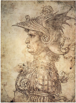 Leonardo Da Vinci Drawings: Antique Warrior - Fine Art Print
