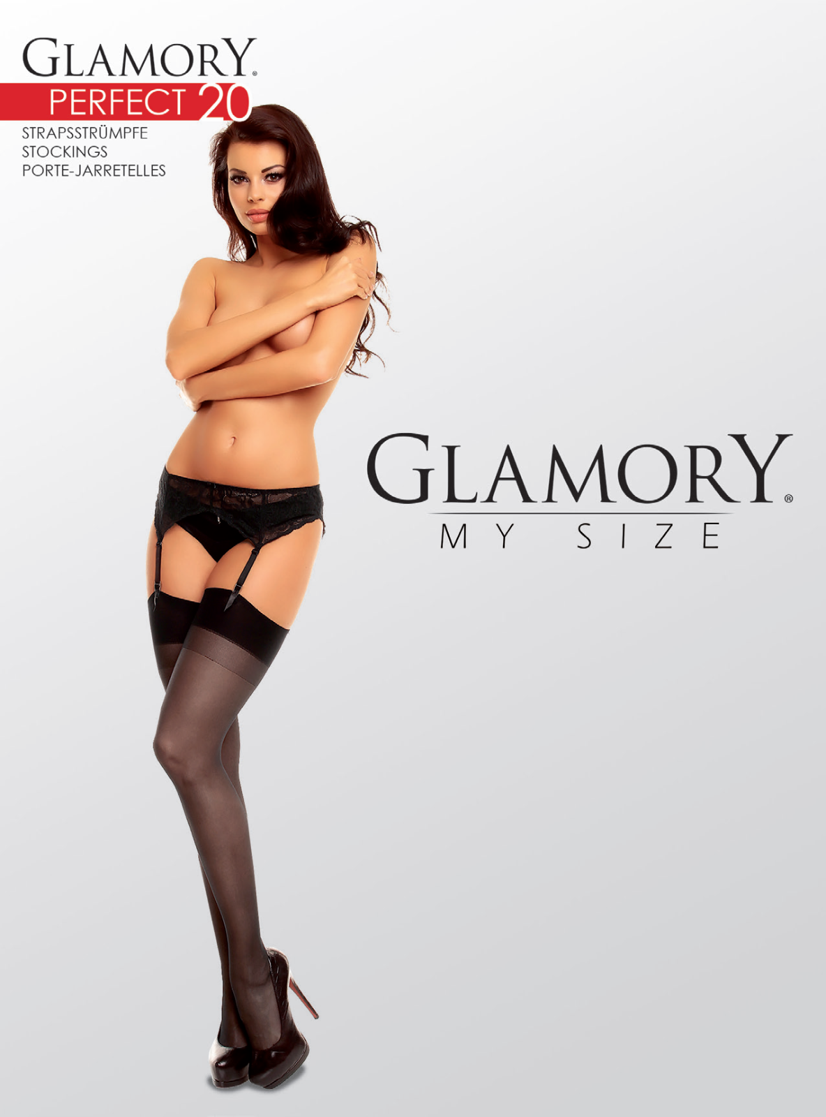 glamory perfect 20 stockings style 50131 black sizes large to 4xl 20 denier