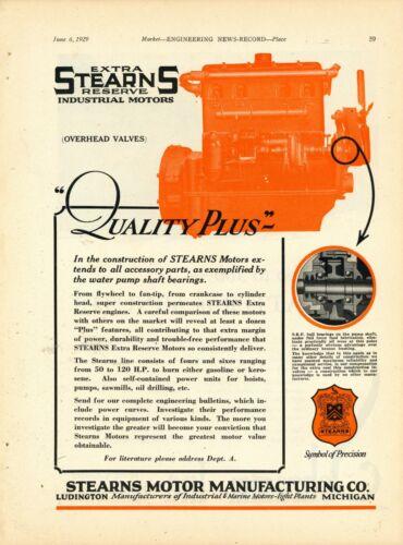 1929 Stearns Motor Mfg. Co. Ad: Industrial Motors - Ludington, Michigan