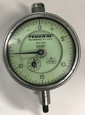 Federal Wc5m Dial Indicator With Lug Back 0-.075 Range .0005 Graduation