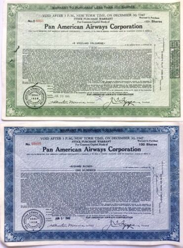 TWO VINTAGE 1946 PAN AMERCAN AIRWAYS STOCK CERTIFICATES PURCHASE WARRANTS 100/10