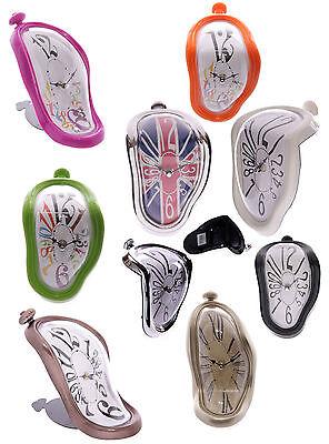 D11 - Style Dali Melting Rétro Étagère Horloge Argent - Encadré Nouveauté